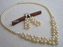 Biżuteria ślubna -komplet perły /kryształy ecru