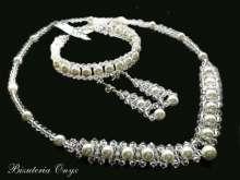 Komplet z kryształów swarovski oraz pereł pb77