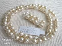 Komplet perły Ecru i kryształy 0604