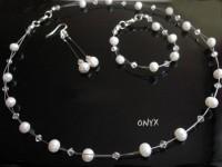 Komplet naturalne perły i kryształy