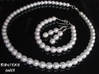 Biżuteria z białych pereł-Komplet