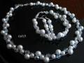 Komplet ślubny białe perły i kryształy II